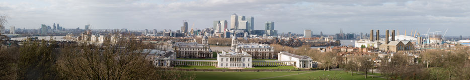 Panorama de Londres (de Greenwich) Fotos de Stock Royalty Free
