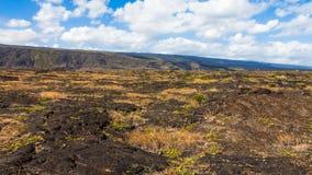 Panorama de los campos de lava Foto de archivo libre de regalías