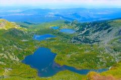 Panorama de los lagos de la montaña Fotos de archivo libres de regalías