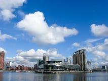 Panorama de Lowry, muelles de Salford, Manchester Foto de archivo libre de regalías