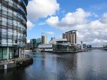 Panorama de Lowry, quais de Salford, Manchester Photos libres de droits