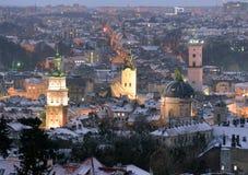 Panorama de Lviv dans le temps de samer, Ukraine Photographie stock