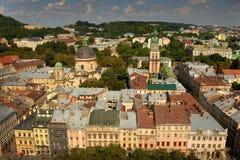 Panorama de Lviv du centre, Ukraine Lviv, vue de la ville Hal Photos libres de droits