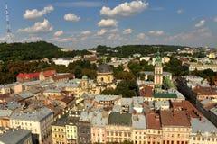 Panorama de Lviv du centre, Ukraine Lviv, vue de la ville Hal Photo libre de droits
