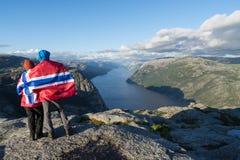 Panorama de Lysefjord, Norvège Photographie stock libre de droits
