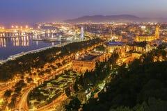 Panorama de Málaga en la puesta del sol foto de archivo libre de regalías