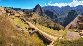 Panorama de Machu Picchu, a cidade perdida do Inca no Peru Fotografia de Stock Royalty Free