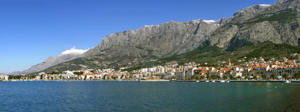Panorama de Makarska Imagenes de archivo