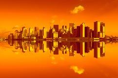 Panorama de manhattan na luz do por do sol Imagens de Stock