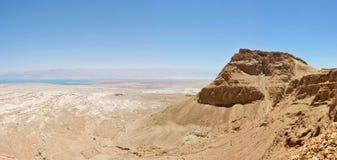 Panorama de Masada e de Mar Morto. imagem de stock