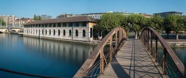 Panorama de matin de centre de la ville de Genève Image libre de droits