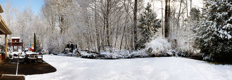 Panorama de matin de l'hiver Images libres de droits