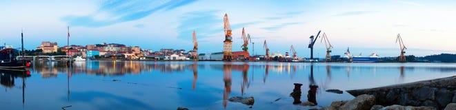 Panorama de matin de port maritime industriel photo stock