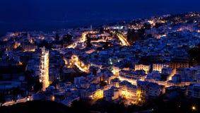Panorama de medina azul de Chefchaouen, Marrocos Imagens de Stock Royalty Free