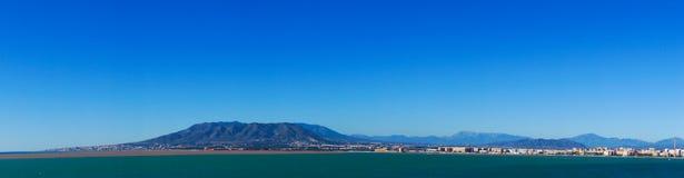 Panorama de mer de ville de Malaga, Espagne Photos libres de droits