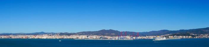 Panorama de mer de ville de Malaga, Espagne Photo stock