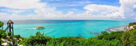 Panorama de mer des Caraïbes, Mexique Photographie stock libre de droits