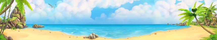 Panorama de mer Plage tropicale Fond de vecteur illustration de vecteur