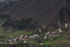 Panorama de Mestia dans le svanetia photographie stock libre de droits