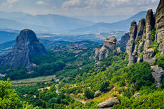 Panorama de Meteora avec le monastère saint du St Photos stock