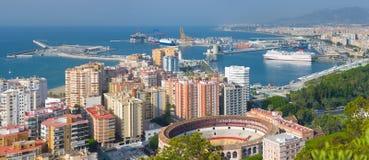 Panorama de Málaga Fotos de archivo libres de regalías