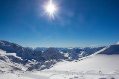 Panorama de montagne dans les Alpes de Stubai photographie stock libre de droits