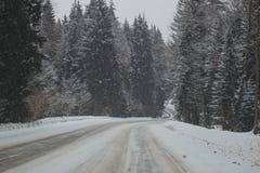 Panorama de montagne de neige et route de neige Images stock