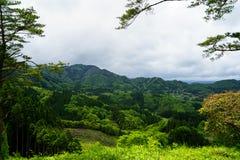 Panorama de montagne de verdure, vue de ville et ciel de loin Photographie stock