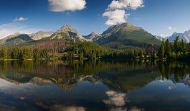 Panorama de montagne reflété dans le lac Strbske image stock