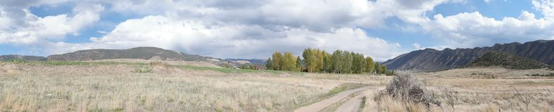 Panorama de montagnes du Colorado, nouveau château Photo stock