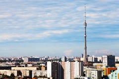 Panorama de Moscú con la torre de la TV imagen de archivo