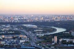 Panorama de Moscou d'une taille Coucher du soleil images libres de droits