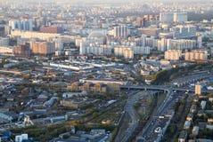 Panorama de Moscou d'une taille Coucher du soleil image stock