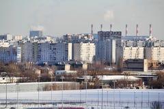 Panorama de Moscou no distrito administrativo de Pechatniki imagem de stock