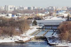 Panorama de Moscou no distrito administrativo de Pechatniki fotografia de stock royalty free