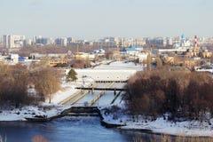 Panorama de Moscou no distrito administrativo de Pechatniki fotos de stock