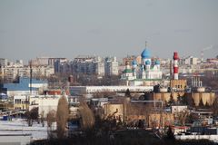 Panorama de Moscou no distrito administrativo de Pechatniki fotografia de stock