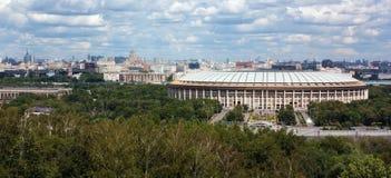 Panorama de Moscovo dos montes do pardal, Rússia Imagens de Stock Royalty Free