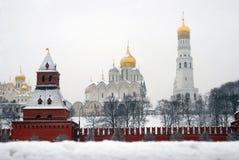 Panorama de Moscovo Kremlin no inverno Imagens de Stock Royalty Free