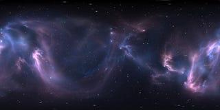 panorama de nébuleuse de l'espace de 360 degrés, projection equirectangular, carte d'environnement Panorama sphérique de HDRI illustration libre de droits