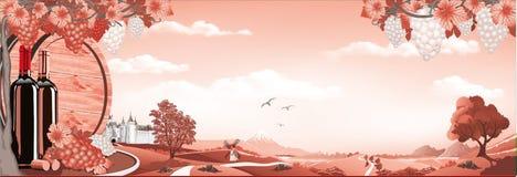 Panorama de nature-lever de soleil au-dessus du vignoble en rouge Ch?teau, vigne, montagnes et for?ts antiques illustration libre de droits