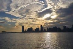 Panorama de New Jersey dans le coucher de soleil photo stock