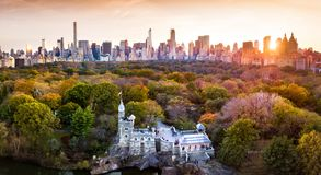 Panorama de New York de Central Park, vue aérienne images libres de droits