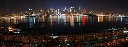 Panorama de New York City sobre o rio de Hudson Foto de Stock