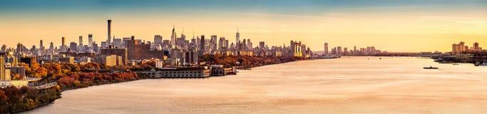 Panorama de New York e de Hudson River Foto de Stock Royalty Free