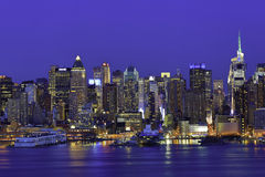 New York Manhattan la nuit Image libre de droits