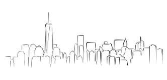 Panorama de Nueva York Ejemplo drawned mano del vector Imagen de archivo