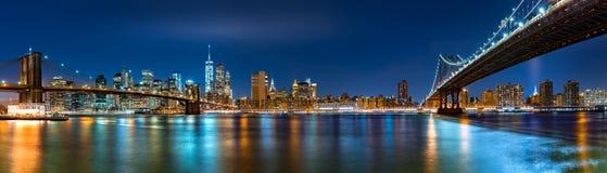 Panorama de nuit avec les deux ponts Image stock