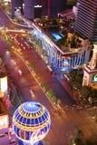 Panorama de nuit de Las Vegas Boulevard la bande Photo stock