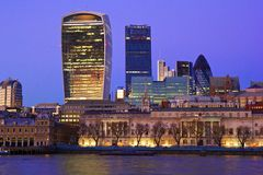 Panorama de nuit de Londres Images libres de droits